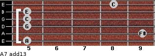A-7(add13) for guitar on frets 5, 9, 5, 5, 5, 8