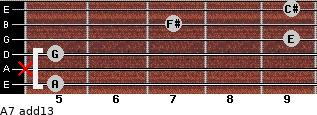 A7(add13) for guitar on frets 5, x, 5, 9, 7, 9