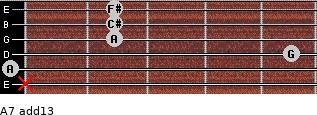 A7(add13) for guitar on frets x, 0, 5, 2, 2, 2