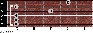 A-7(add4) for guitar on frets 5, 5, 5, 7, 5, 8