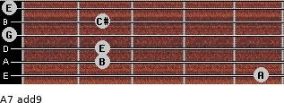 A7(add9) for guitar on frets 5, 2, 2, 0, 2, 0