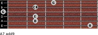 A7(add9) for guitar on frets 5, 2, 2, 0, 2, 3