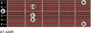 A7(add9) for guitar on frets 5, 2, 2, 0, 2, 5