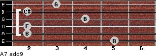 A7(add9) for guitar on frets 5, 2, 2, 4, 2, 3