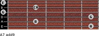 A7(add9) for guitar on frets 5, 2, 5, 0, 2, 0