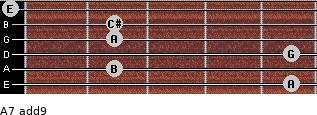 A7(add9) for guitar on frets 5, 2, 5, 2, 2, 0