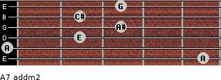 A7 add(m2) for guitar on frets 5, 0, 2, 3, 2, 3