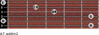 A7 add(m2) for guitar on frets 5, 0, 5, 3, 2, 0