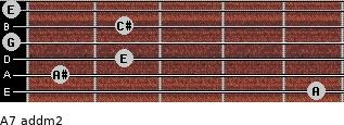A7 add(m2) for guitar on frets 5, 1, 2, 0, 2, 0