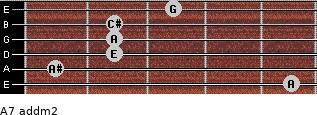 A7 add(m2) for guitar on frets 5, 1, 2, 2, 2, 3