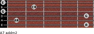 A7 add(m2) for guitar on frets 5, 1, 5, 0, 2, 0