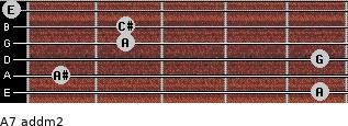 A7 add(m2) for guitar on frets 5, 1, 5, 2, 2, 0