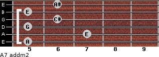 A7 add(m2) for guitar on frets 5, 7, 5, 6, 5, 6