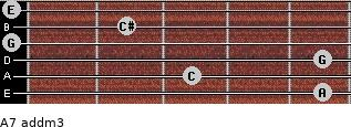 A7 add(m3) for guitar on frets 5, 3, 5, 0, 2, 0