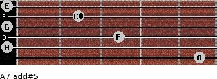 A7 add(#5) for guitar on frets 5, 0, 3, 0, 2, 0