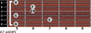 A7 add(#5) for guitar on frets 5, 7, 5, 6, 6, 5