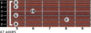A7 add(#5) for guitar on frets 5, 8, 5, 6, 5, 5