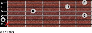 A7b5sus for guitar on frets x, 0, 5, 2, 4, 5