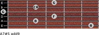 A7#5(add9) for guitar on frets 5, 2, 3, 0, 2, 3