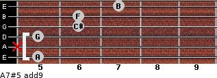 A7#5(add9) for guitar on frets 5, x, 5, 6, 6, 7