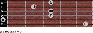 A7#5 add(m2) for guitar on frets 5, 0, 3, 3, 2, 3