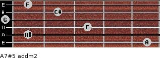 A7#5 add(m2) for guitar on frets 5, 1, 3, 0, 2, 1