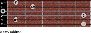 A7#5 add(m2) for guitar on frets 5, 1, 5, 0, 2, 1