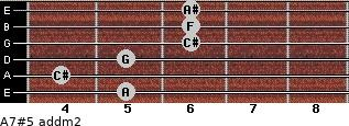 A7#5 add(m2) for guitar on frets 5, 4, 5, 6, 6, 6