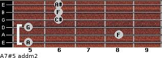 A7#5 add(m2) for guitar on frets 5, 8, 5, 6, 6, 6