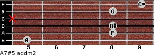 A7#5 add(m2) for guitar on frets 5, 8, 8, x, 8, 9