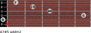 A7#5 add(m2) for guitar on frets x, 0, 5, 3, 2, 1