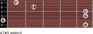 A7#5 add(m3) for guitar on frets 5, 0, 5, 5, 2, 1