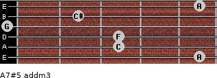A7#5 add(m3) for guitar on frets 5, 3, 3, 0, 2, 5