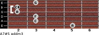 A7#5 add(m3) for guitar on frets 5, 3, 3, 2, 2, 3