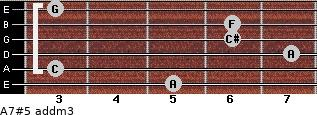 A7#5 add(m3) for guitar on frets 5, 3, 7, 6, 6, 3