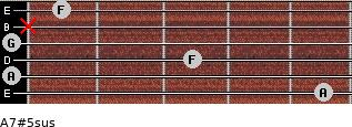 A7#5sus for guitar on frets 5, 0, 3, 0, x, 1