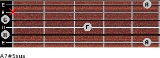 A7#5sus for guitar on frets 5, 0, 3, 0, x, 5