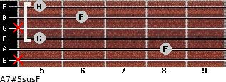 A7#5sus/F for guitar on frets x, 8, 5, x, 6, 5