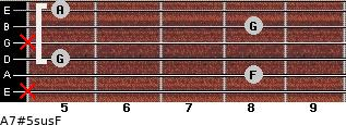 A7#5sus/F for guitar on frets x, 8, 5, x, 8, 5