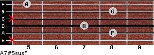A7#5sus/F for guitar on frets x, 8, 7, x, 8, 5