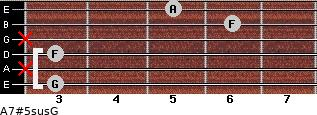 A7#5sus/G for guitar on frets 3, x, 3, x, 6, 5