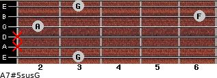 A7#5sus/G for guitar on frets 3, x, x, 2, 6, 3