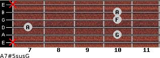 A7#5sus/G for guitar on frets x, 10, 7, 10, 10, x