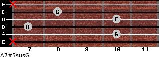 A7#5sus/G for guitar on frets x, 10, 7, 10, 8, x
