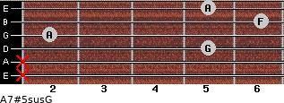 A7#5sus/G for guitar on frets x, x, 5, 2, 6, 5