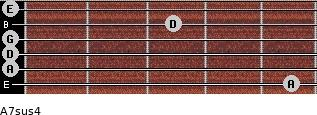 A7sus4 for guitar on frets 5, 0, 0, 0, 3, 0