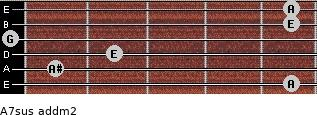 A7sus add(m2) for guitar on frets 5, 1, 2, 0, 5, 5