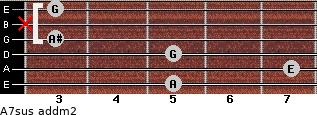 A7sus add(m2) for guitar on frets 5, 7, 5, 3, x, 3