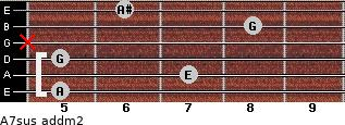 A7sus add(m2) for guitar on frets 5, 7, 5, x, 8, 6