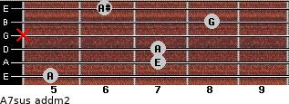 A7sus add(m2) for guitar on frets 5, 7, 7, x, 8, 6